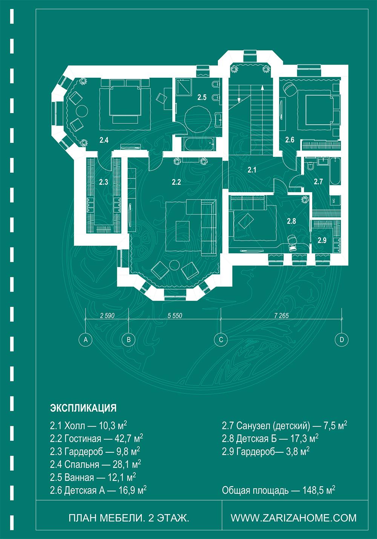 планировочное решения второго этажа дома