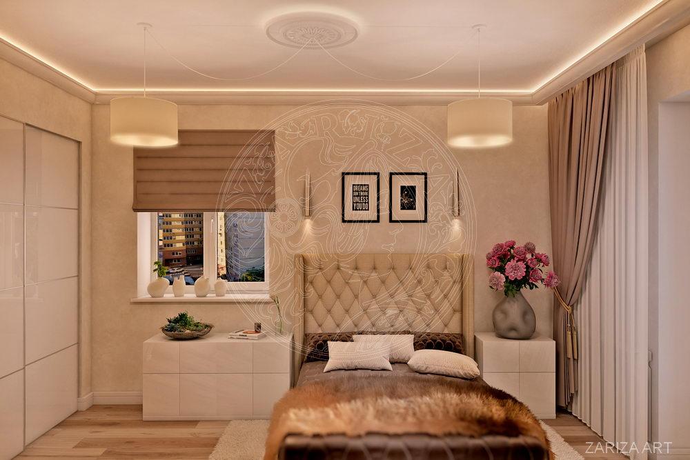спальня с бежевыми стенами