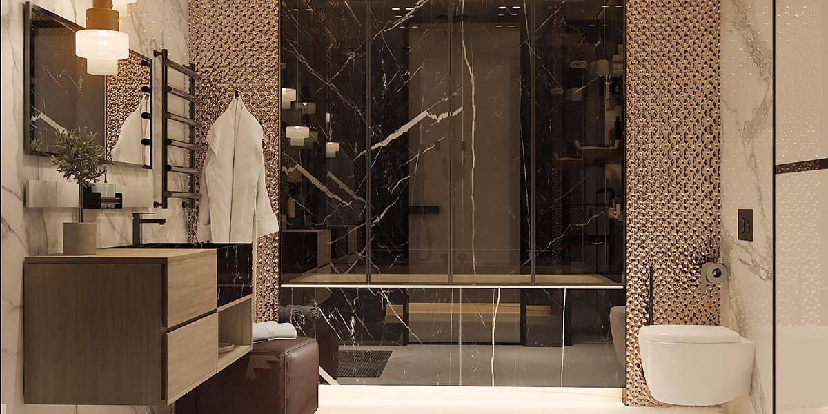 отделка стены ванной мрамором