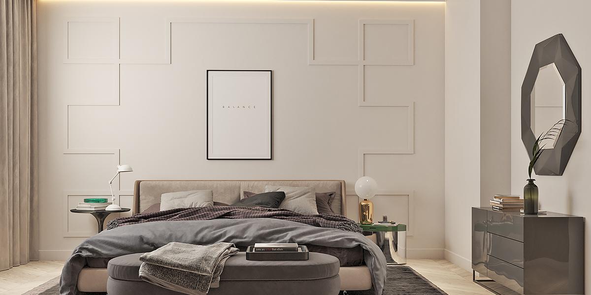спальня с орнаментальной стеной за изголовьем