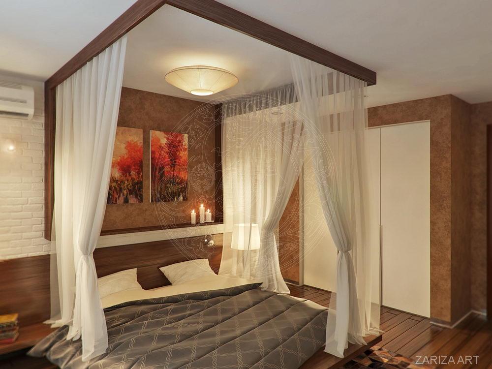 кровать в спальне лофт