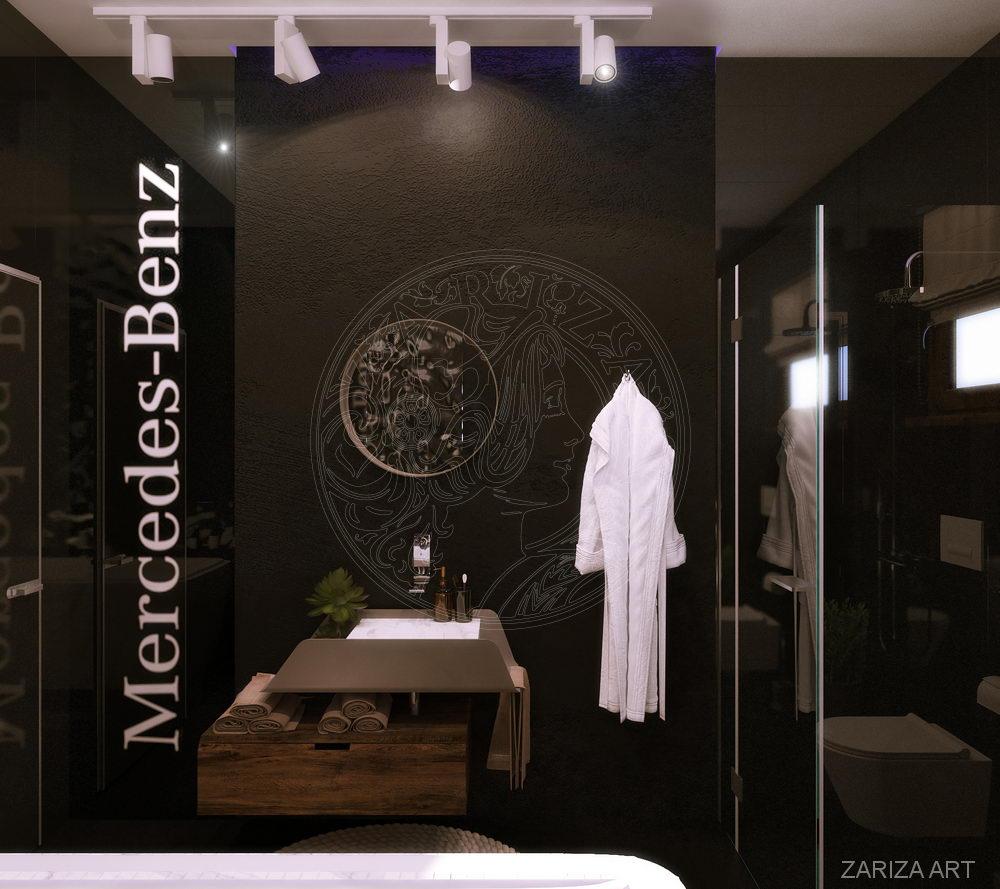 ванная с черной плиткой