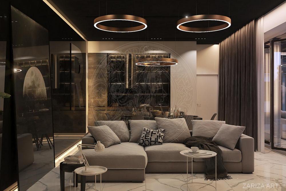 современный интерьера гостиной