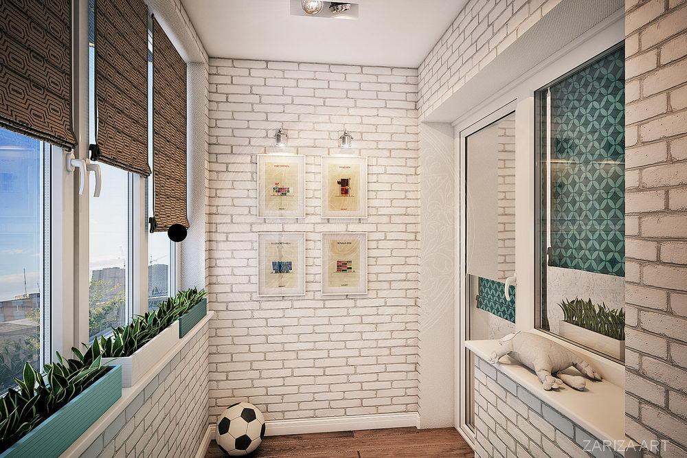 лоджия и стены из кирпича