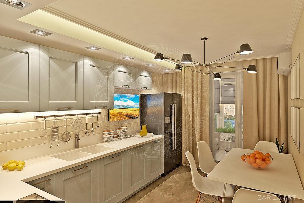 кухонная мебель и отдельностоящий холодильник