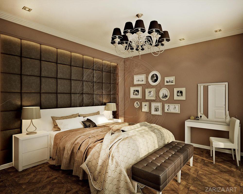 спальня с панелями на стене