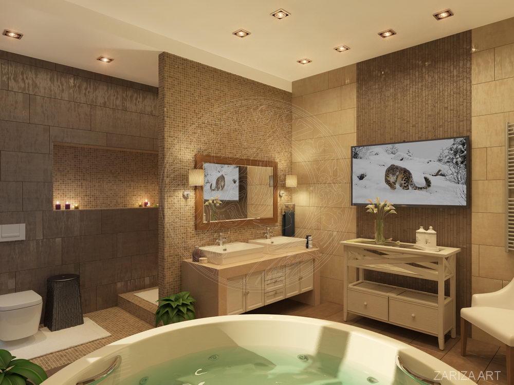 круглая ванная c бежевой плиткой