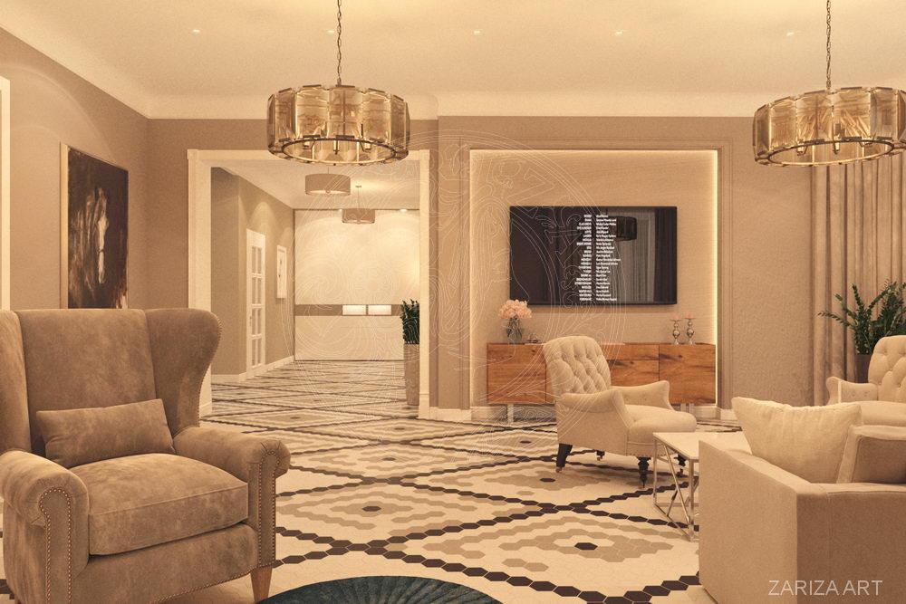 гостиная с видом в холл
