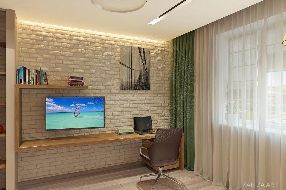 кабинет с кирпичной стеной