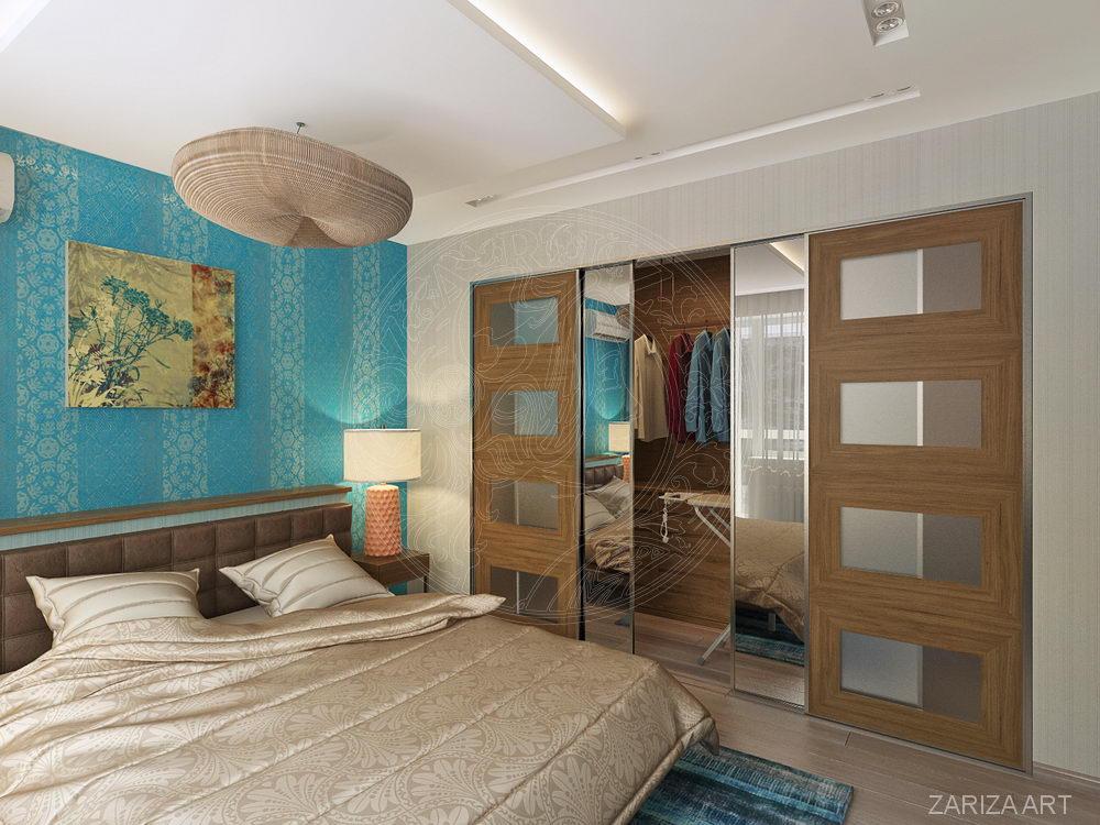 спальня с голубыми вставками обоев