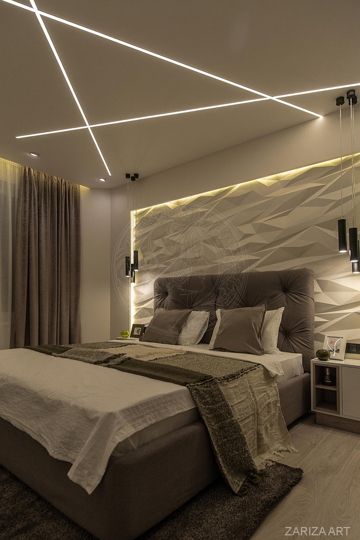 спальня с 3д панелями