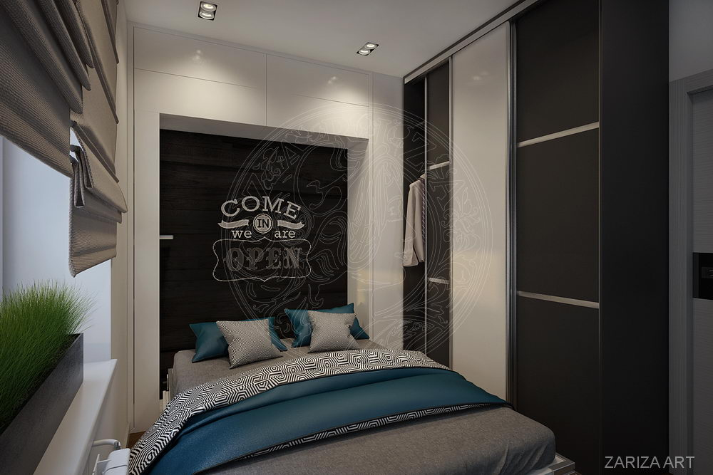 спальня с разложенной кроватью