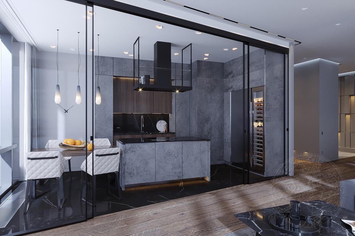кухня с фасадами из керамогранита