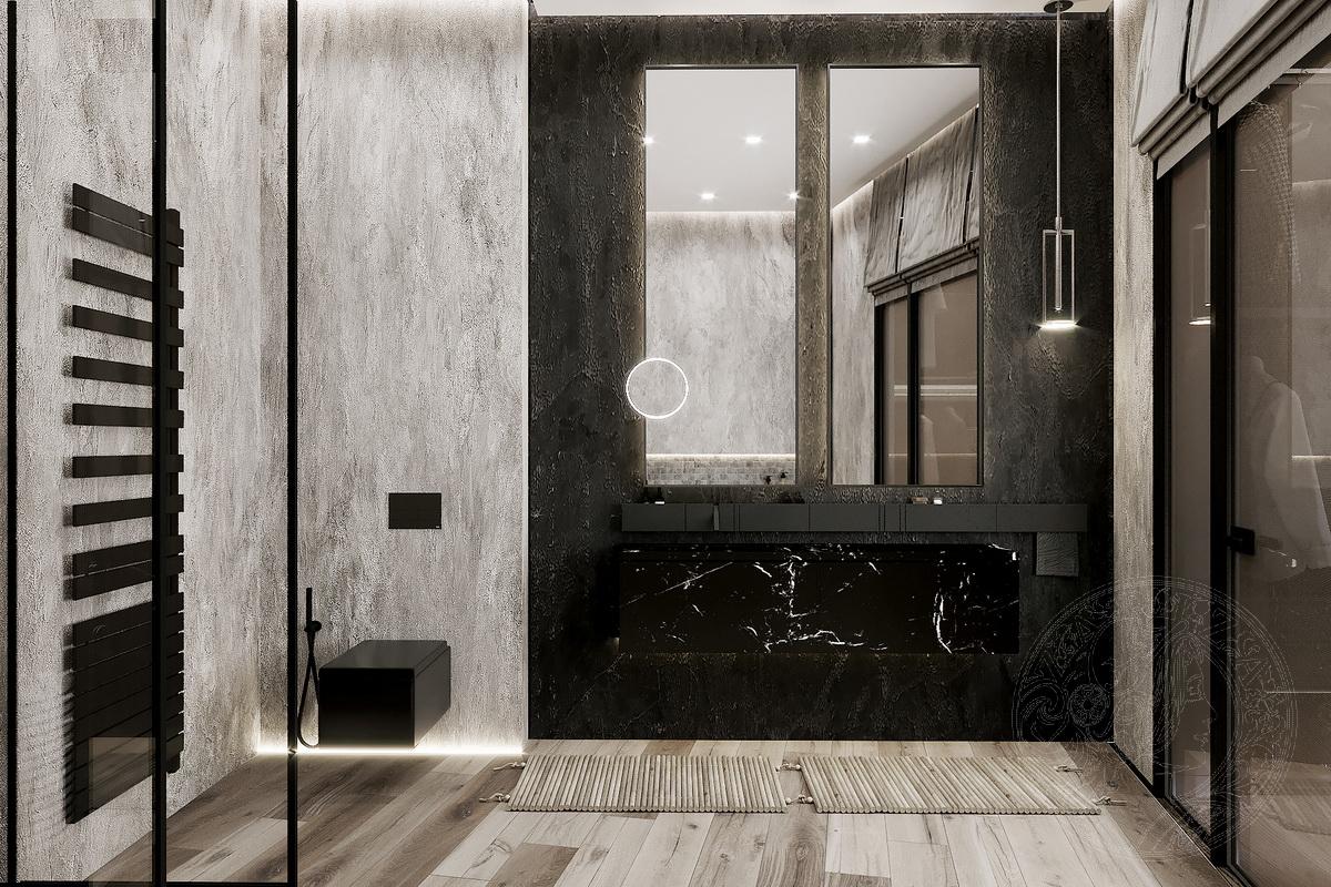 ванная вид на умывальник и зеркала