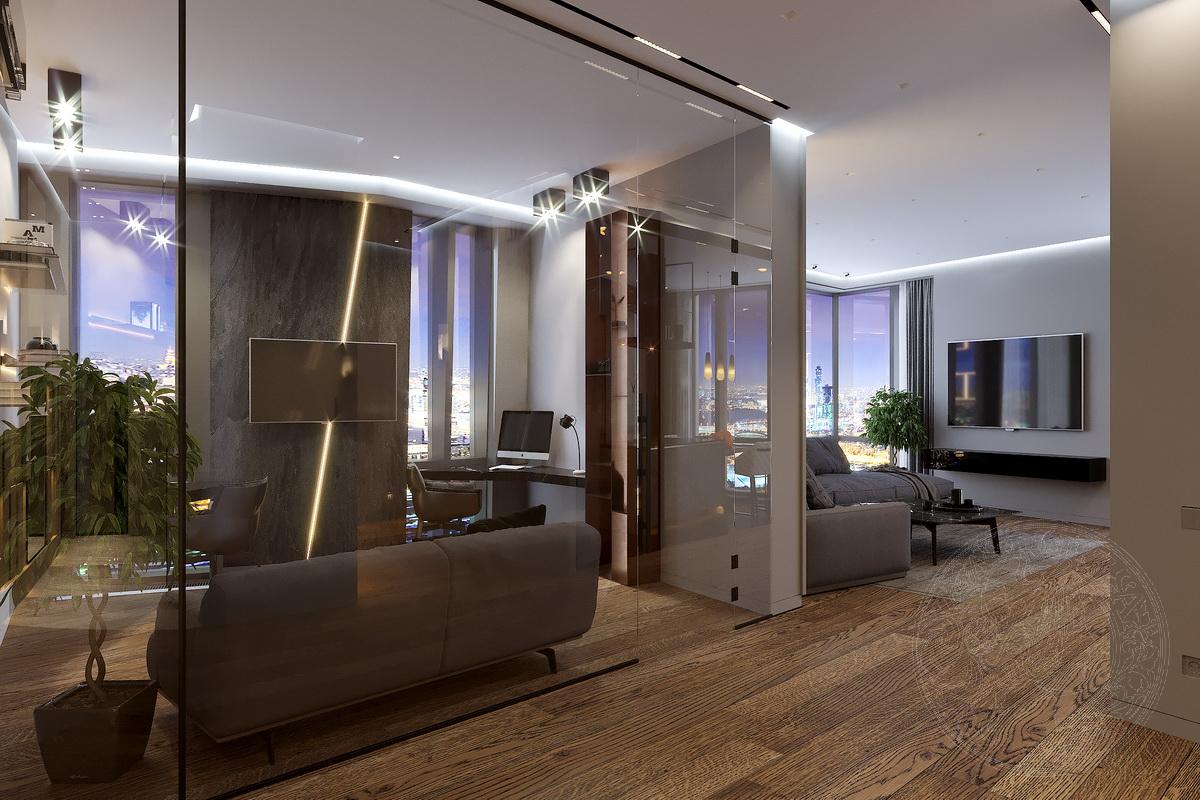 кабинет вид ночью дизайн на мосфильмоской