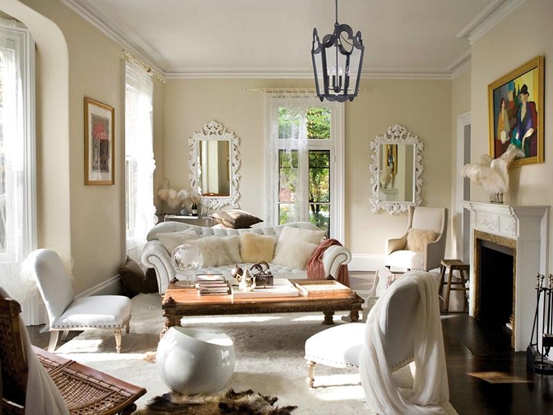 гостиная в доме в романтическом стиле