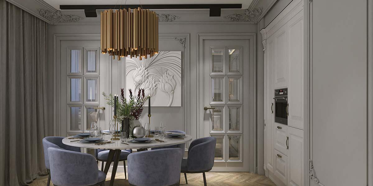 классический стиль в сочетании с современной мебелью