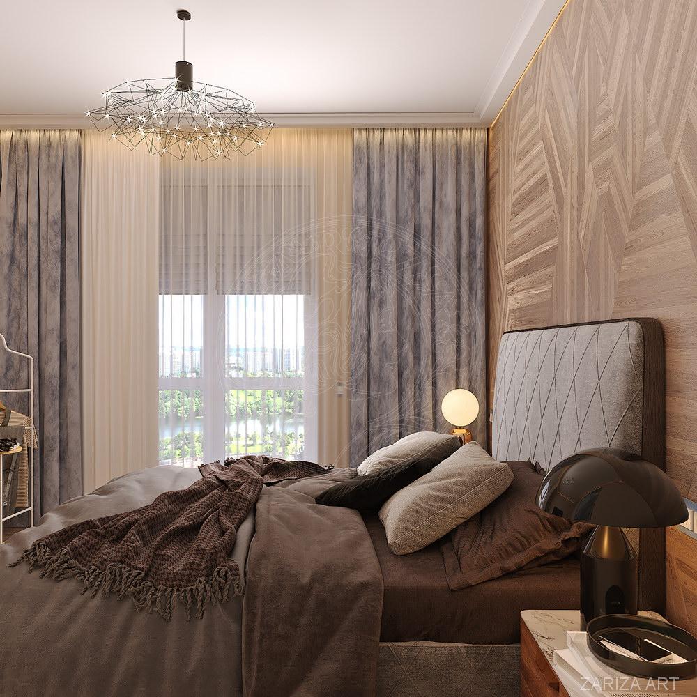 спальня с изголовьем из панелей шпона