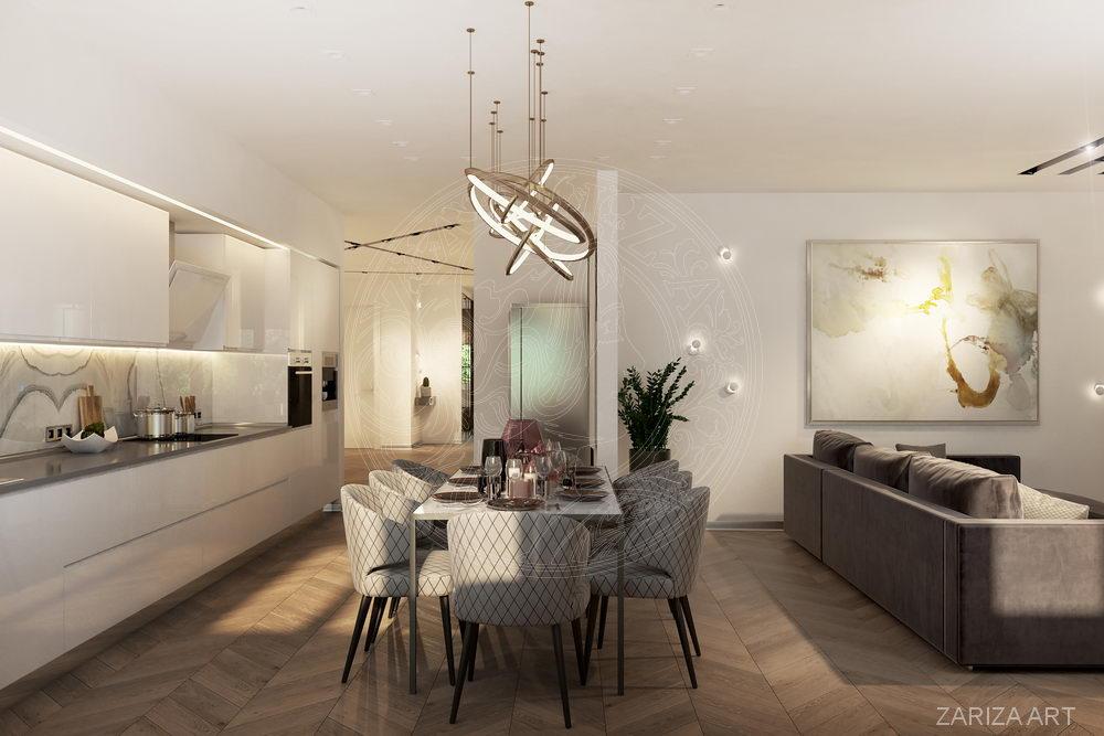 вид на кухню и холл