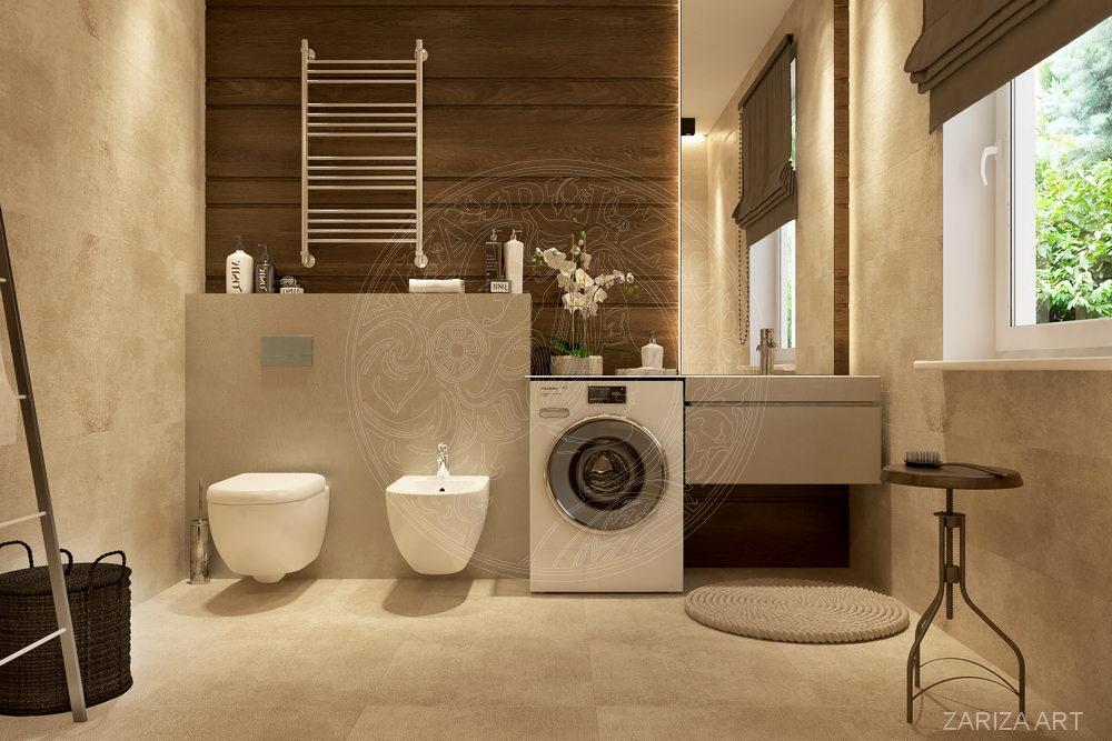 ванная с бежевой плиткой