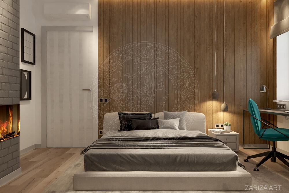 кровать на фоне стены