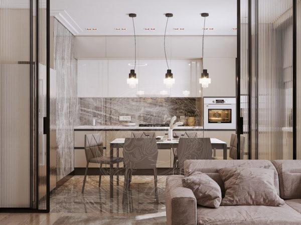 вид из гостиной на кухню в новом проекте