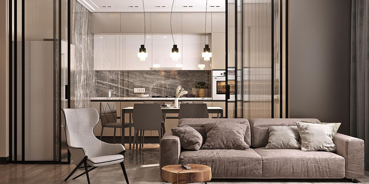 мебель Aran в совмещенной кухне-гостиной