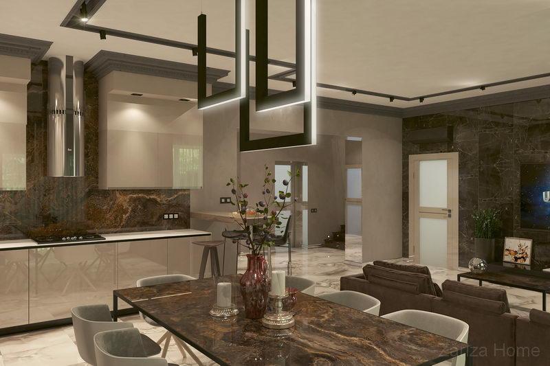 кухонная мебель с глянцевыми фасадами и столом из тонкого керамогранита