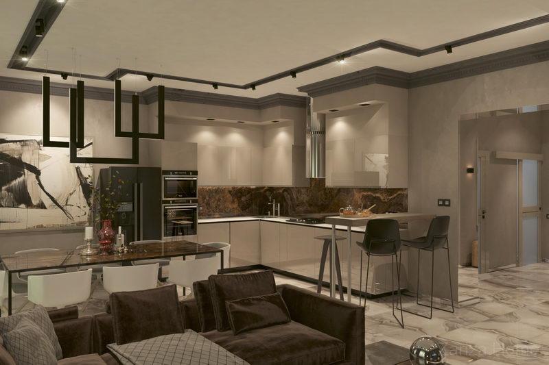 кухня в современном стиле со светильниками из профилей