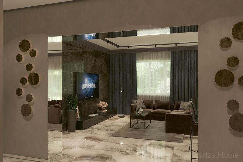вид на гостиную из коридора первого этажа частного дома