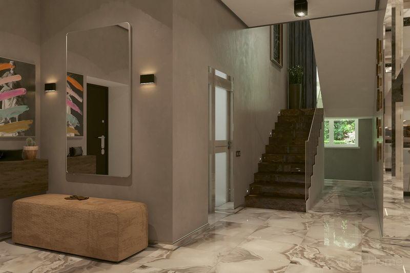 лестница холла первого этажа с картиной в частном доме