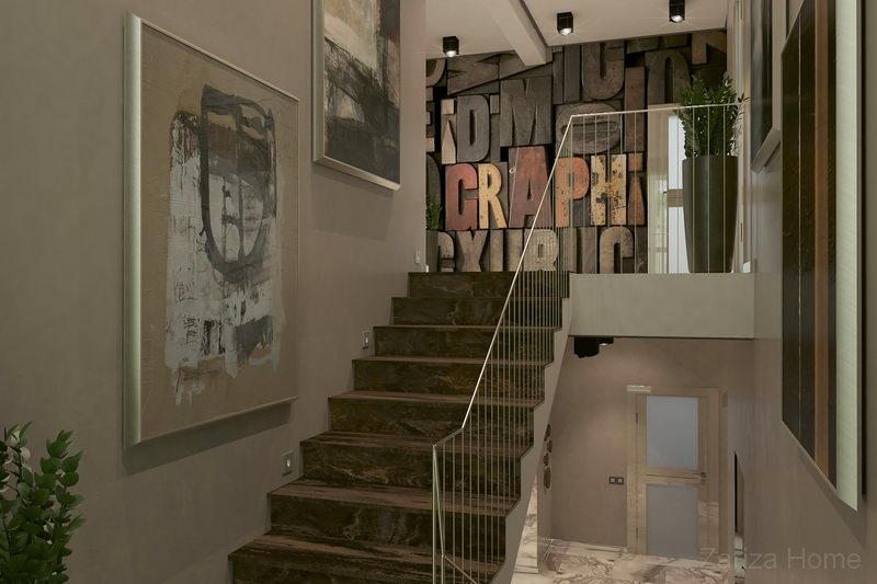 холл первого и второго этажа с фотопанно