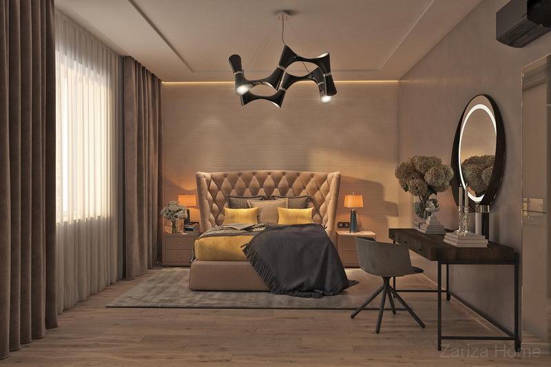 дизайн спальни в доме, где хозяева проводят вечера