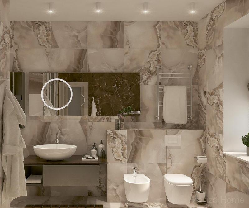 ванная комната с плиткой под камень светлая и просторная