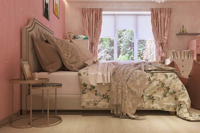 интерьер детской комнаты девочки в розовом цвете