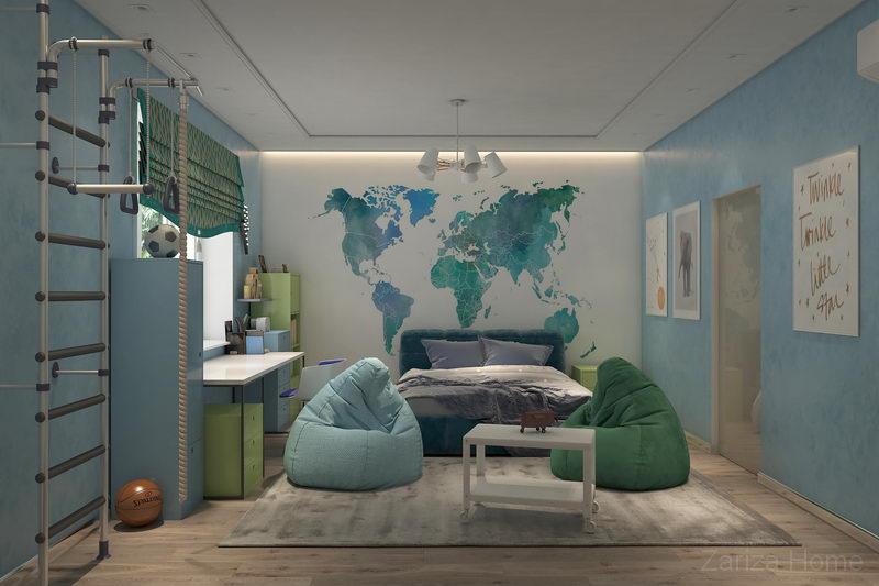 интерьер детской подростка с картой на стене в синем цвете