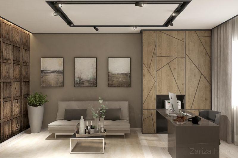 дизайн интерьера кабинета с деревянными панелями и серыми стенами