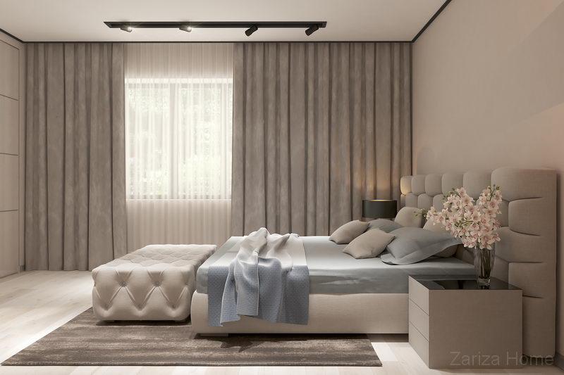 гостевая спальня в бежевых тонах и шинной системой освещения