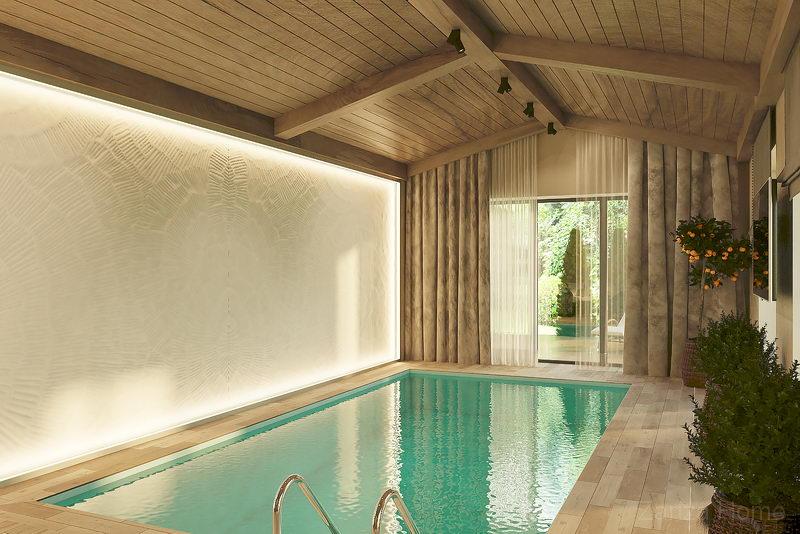 бассейн из светлого дерева и стеной из штукатурки в частном доме