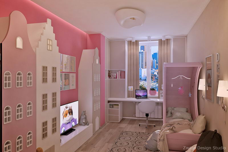 комната для девочки с домиками