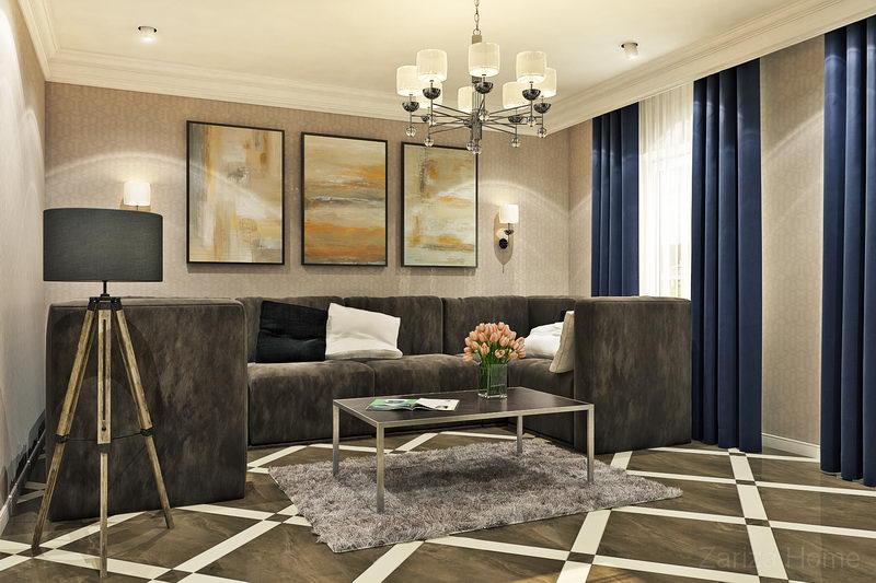 гостиная с плиткой и большим диваном