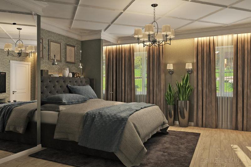 спальня с синей стеной и бежевой кроватью