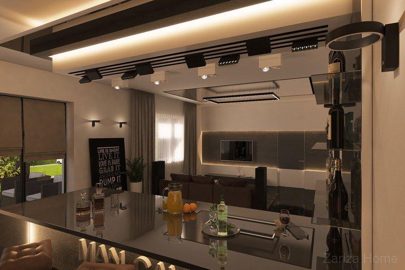 гостиная с каменным шпоном