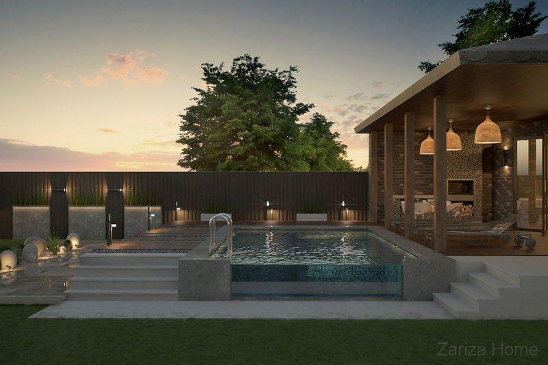 проект территории частного дома с бассейном