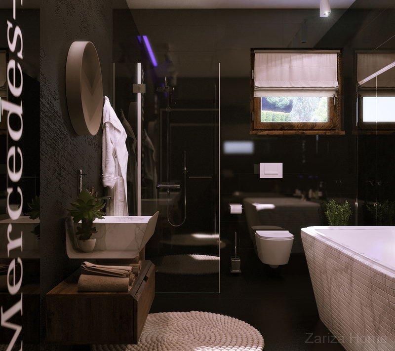 ванная в черном цвете с мозаикой и зеркальной плиткой