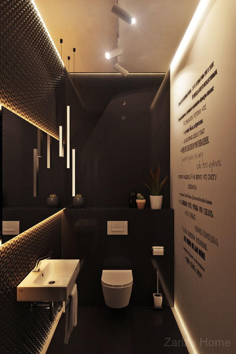 интерьер современного туалета с надписями по трафорету