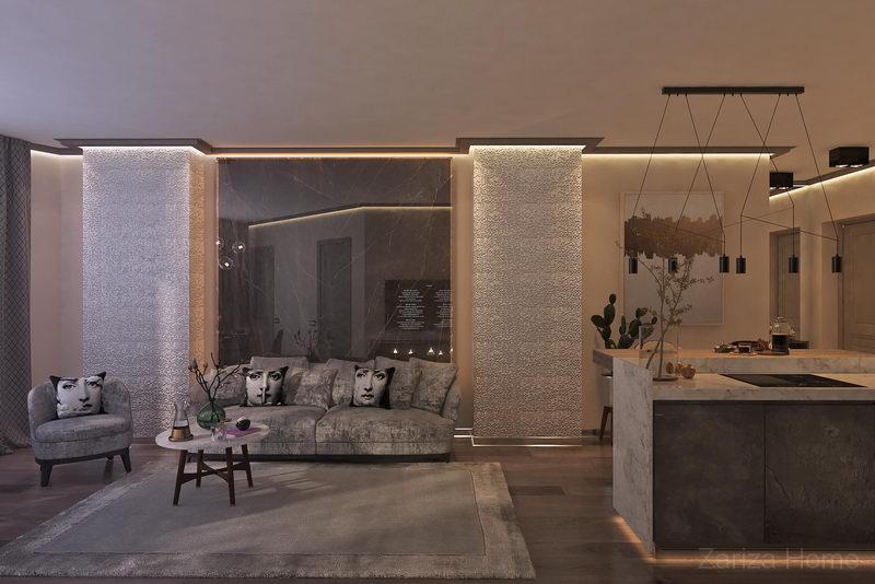 диван и тонкий керамогранит в качетсве отделки стены