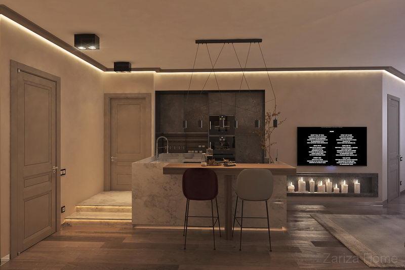 кухня в трехкомнатной квартире с барной стойкой