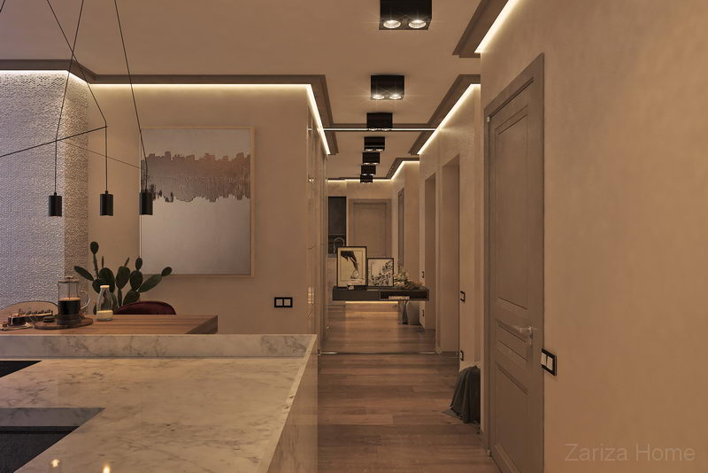 интерьер холла с большим зеркалом