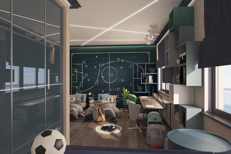 детская комната со стеной фотообои футбольное поле